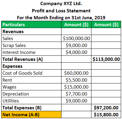 Profit and Loss Statement Example 1