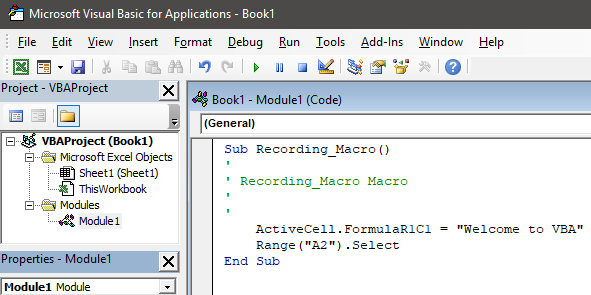 how to record macros in excel Example 1.17
