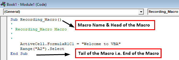 how to record macros in excel Example 1.18