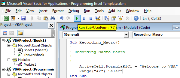 Programming in Excel Example 1.20.1