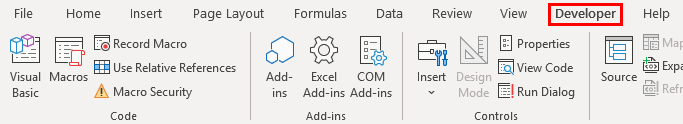 Ribbon in Excel Example 1.12