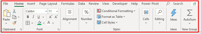 Ribbon in Excel Example 1.23
