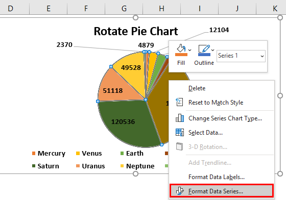 Rotate Pie Chart in Excel Example 1.7