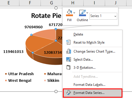 Rotate Pie Chart in Excel Example 2.6