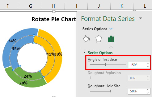 Rotate Pie Chart in Excel Example 3.7