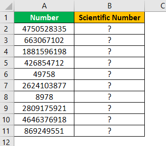 Scientific Notation in Excel Example 1