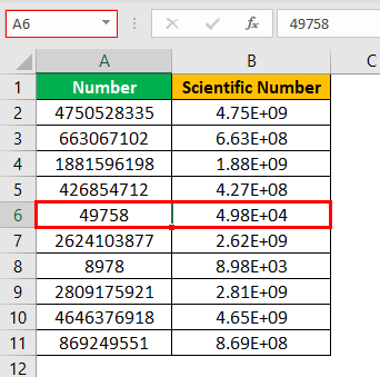 Scientific Notation in Excel Example1.5