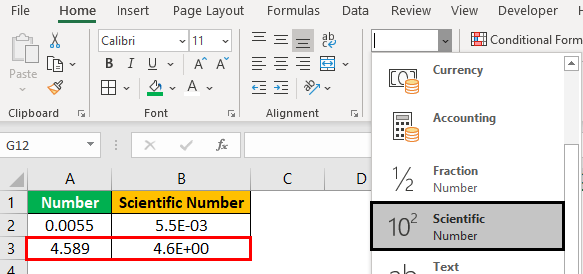 Scientific Notation in Excel Example2.2.0