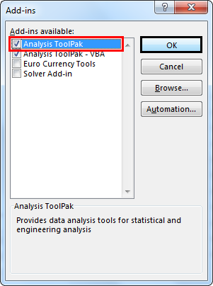 Select Analysis ToolPack