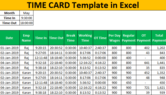 Time Card Template in Excel