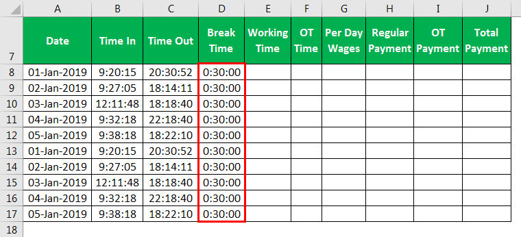 Time card Template Example 1-4