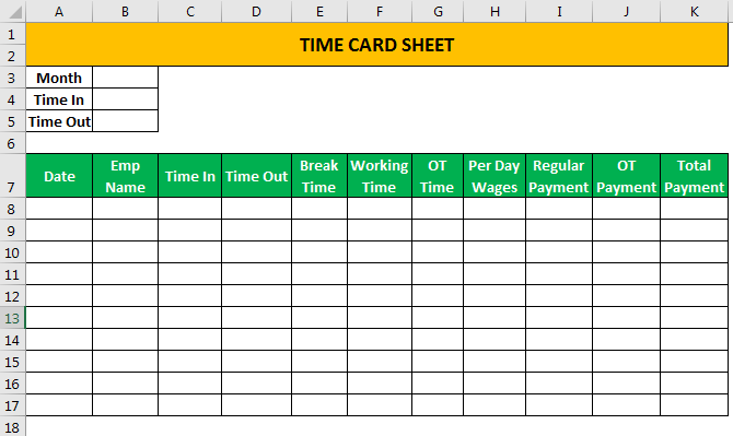 Time card Template Example 1