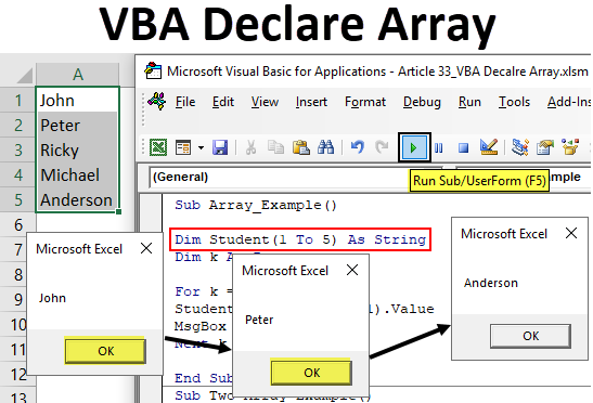 VBA Declare Array | How to Declare Arrays in VBA? (Step by