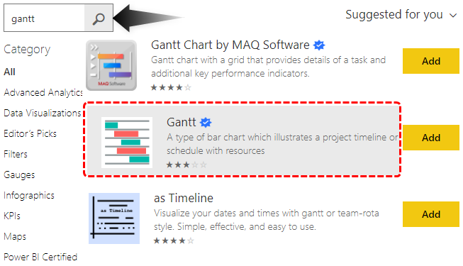 Add Gantt Charts in Power BI