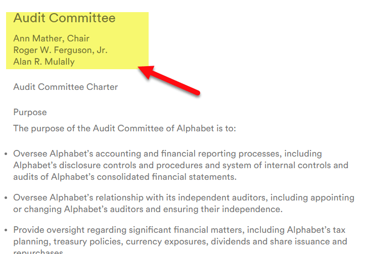 Audit Committee - Alphabet