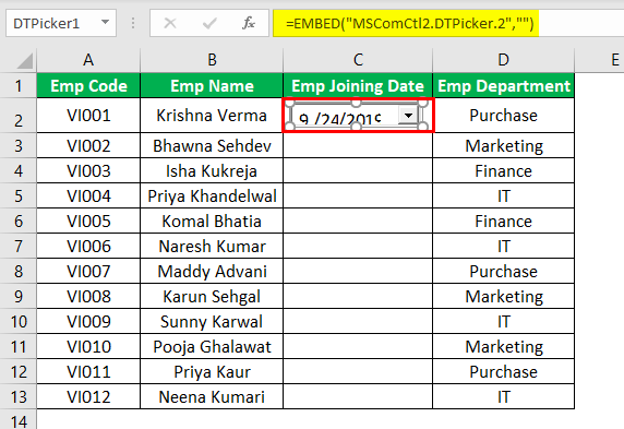 Excel Date Picker Example 1.6.0