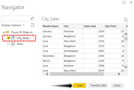 Map in Power BI (Preview Data)