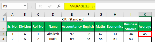 Marksheet in Excel Example 1.10