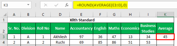 Marksheet in Excel Example 1.15