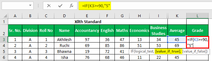 Marksheet in Excel Example 1.18.1