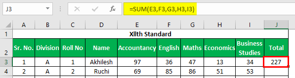 Marksheet in Excel Example 1.3.1