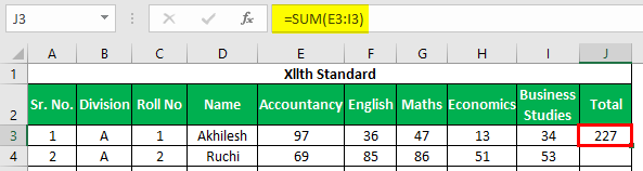 Marksheet in Excel Example 1.6.1