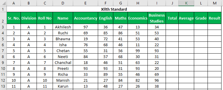 Marksheet in Excel Example 1