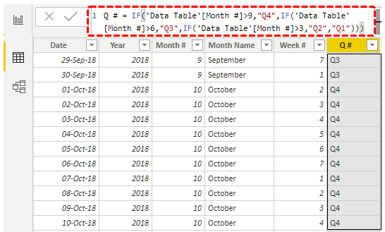 Power BI Calendar (quarter)