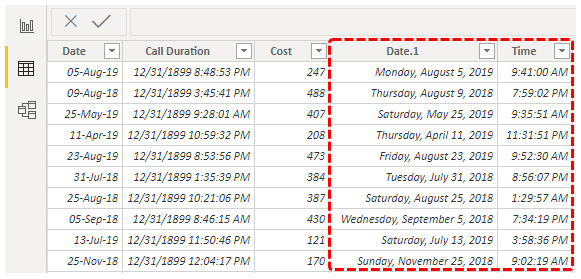 Power BI Date (Changed table)