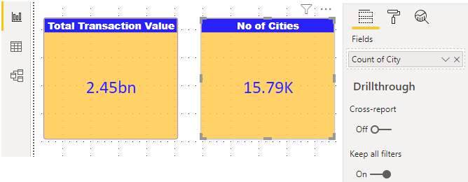 Power BI Reports (no of cities)