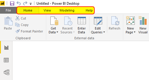 Power Bi Desktop (4 tab home, view, modeling nad help)