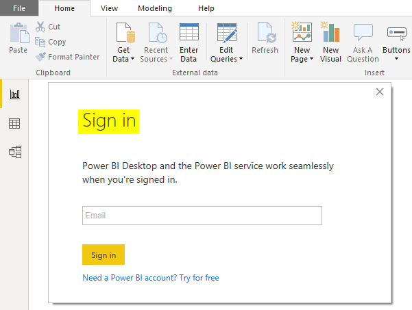 Power Bi Desktop (Sign in)