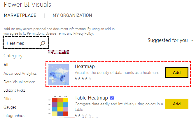 Power Bi Heat map (Marketplace)