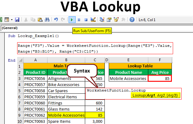Vba Lookup Function How To Use Lookup Function Examples