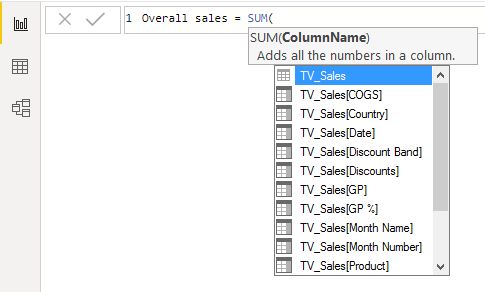 measures in power bi (Sum)