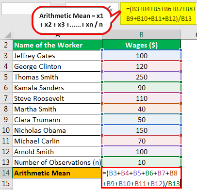 calculation of arithmetic mean 2.1