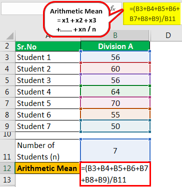 calculation of arithmetic mean 3.1