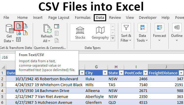 CSV Files into Excel