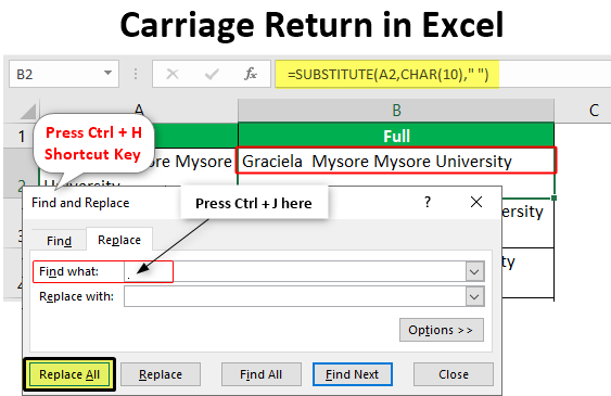 Carriage Return in Excel