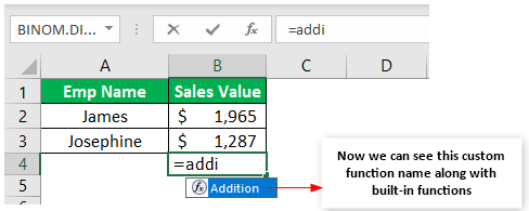 Custom Excel Function Example 1-5
