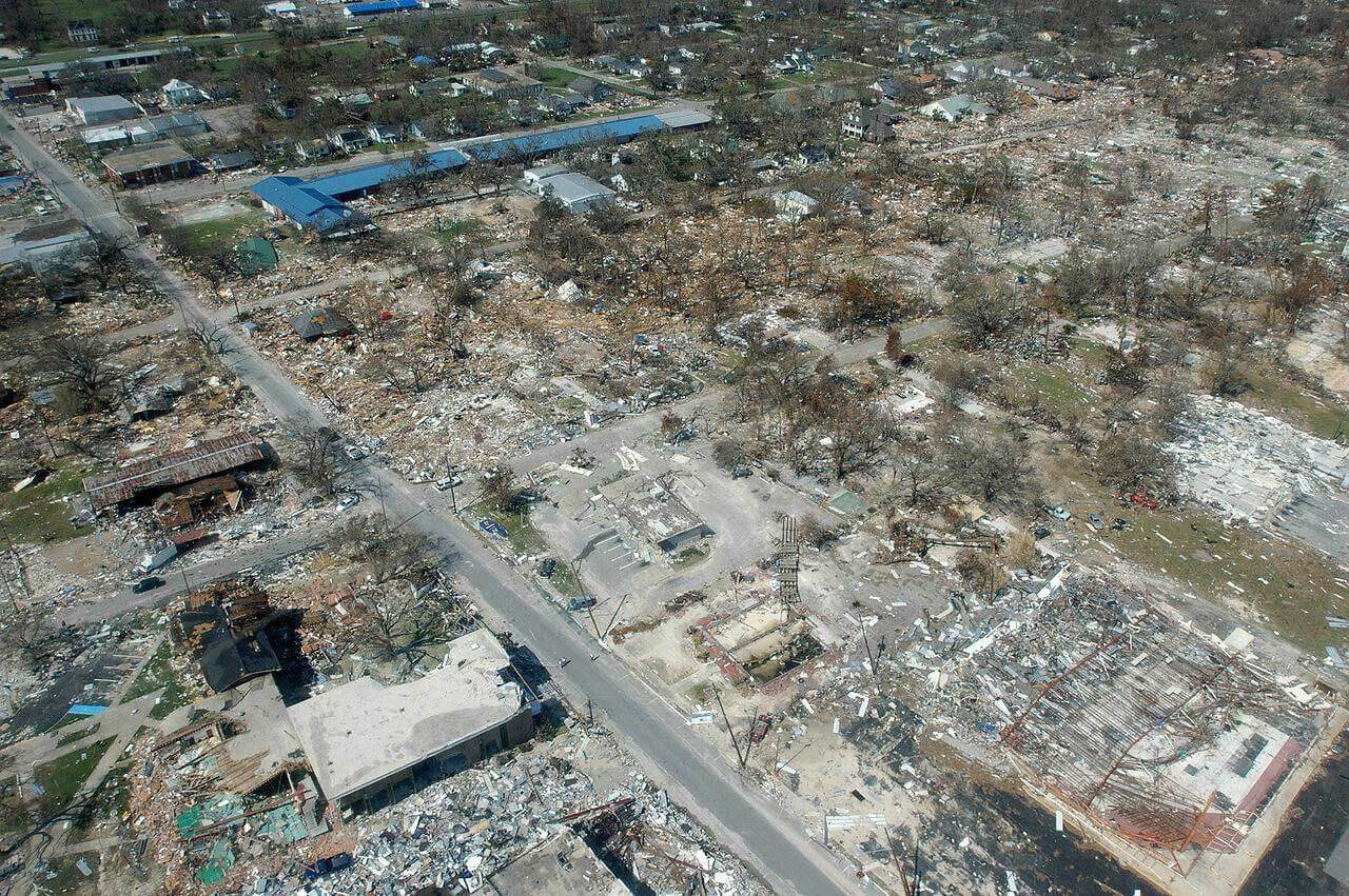 Damage from hurricane Katrina in 2005