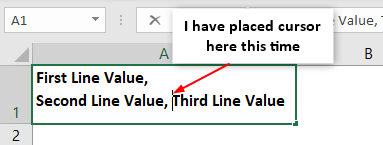 Excel Carriage Return - Example 1-5