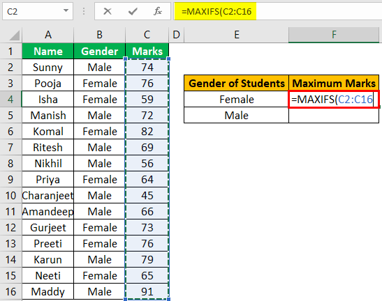 Excel Maxifs Example 1-2