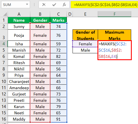 Excel Maxifs Example 1-5