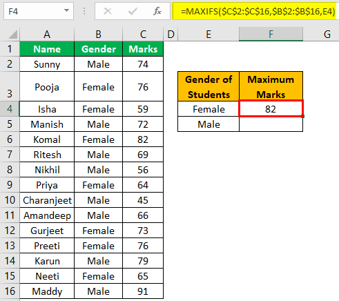 Excel Maxifs Example 1-6