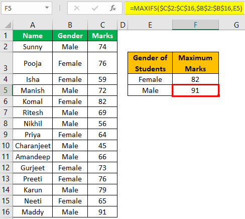 Excel Maxifs Example 1-7