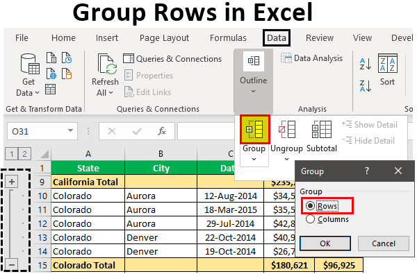 Group Rows in Excel