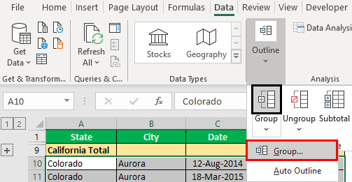 How to Group Rows in Excel Example 1.8