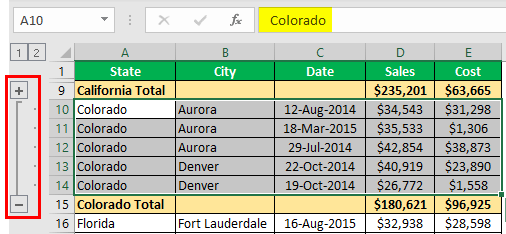How to Group Rows in Excel Example 1.9.0