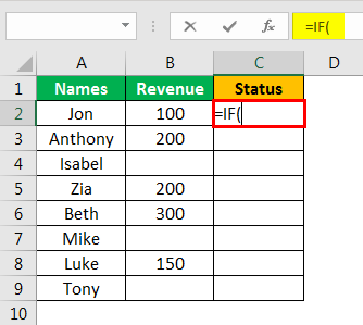 Isblank Excel - Example 2.1